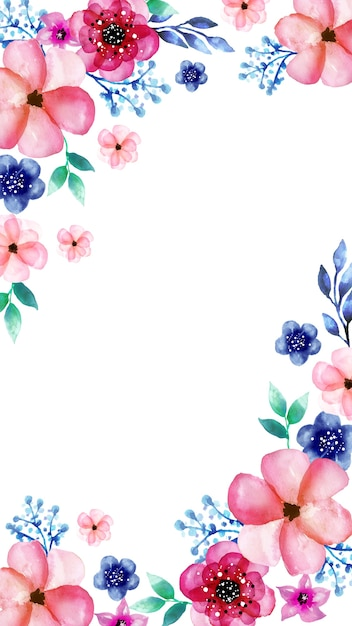 Mobiler hintergrund mit aquarellblumen Kostenlosen Vektoren