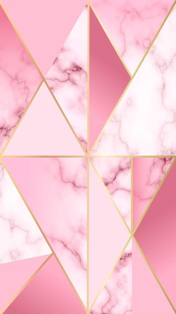 Mobiler hintergrund mit marmoreffekt und rosa geometrischen formen Kostenlosen Vektoren