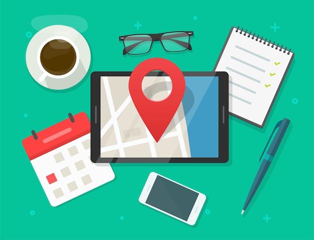Mobiler kartennavigator mit stiftzeigermarkierung auf stadtstraßenstraße auf tablet-computerbildschirmtisch schreibtisch Premium Vektoren