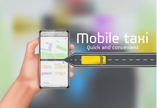 Mobiler Taxi-Konzepthintergrund. Menschliche Hand, die Smartphone mit Stadtplan hält Kostenlose Vektoren