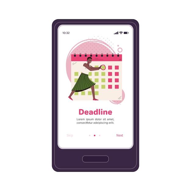 Mobiles anwendungsbanner mit geschäftsfrau macht notizen auf desktop-kalender Premium Vektoren