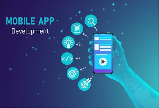 Mobiles app-entwicklungskonzept Premium Vektoren