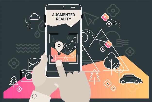 Mobiles app-konzept des augmented-reality-stadttourismus Premium Vektoren
