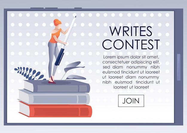 Mobiles banner, das zum schreibwettbewerb einlädt Premium Vektoren