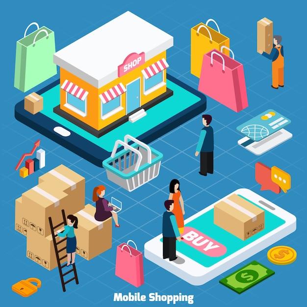 Mobiles einkaufen isometrische illustrationv Kostenlosen Vektoren