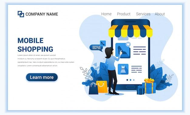 Mobiles einkaufen mit dem riesigen handy und frau, die produkte wählen. Premium Vektoren