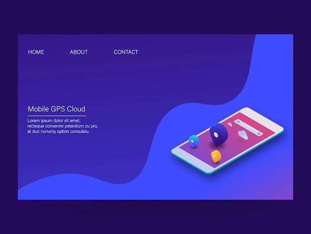 Mobiles gps-system Premium Vektoren