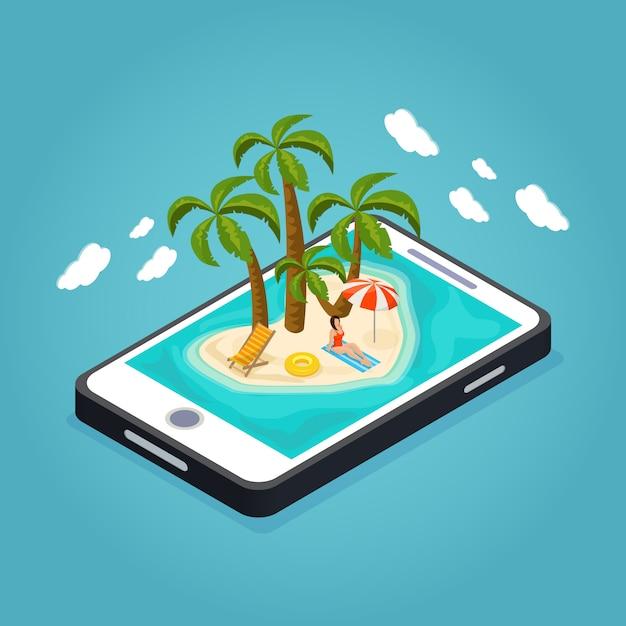 Mobiles konzept des isometrischen strandurlaubs Kostenlosen Vektoren