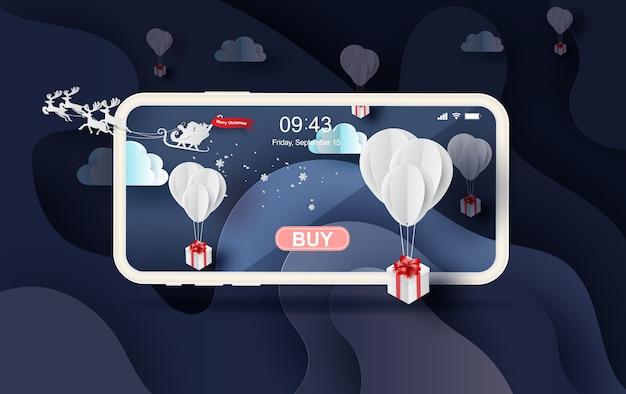 Mobiles online-shopping der wintersaison im winter Premium Vektoren