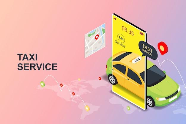 Mobiles online-taxi-bestellservice-app-konzept Premium Vektoren