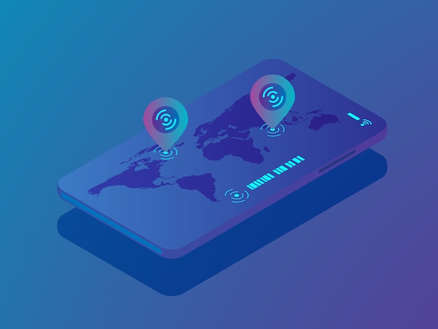 Mobiles smartphone mit ortungsanwendung, pin-standort auf weltkarte vektor isometrisch Premium Vektoren