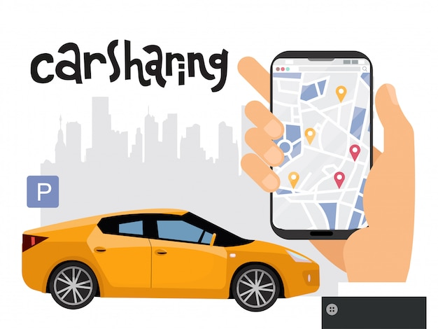 Mobiles stadtverkehrskonzept Premium Vektoren