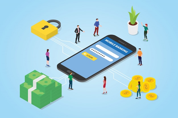Mobiles zahlungskonzept mit smartphonegeld und sicherem bereich der sicherheitsanmeldung Premium Vektoren
