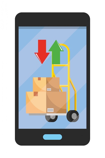 Mobiltelefon, das handwagenillustration zeigt Premium Vektoren