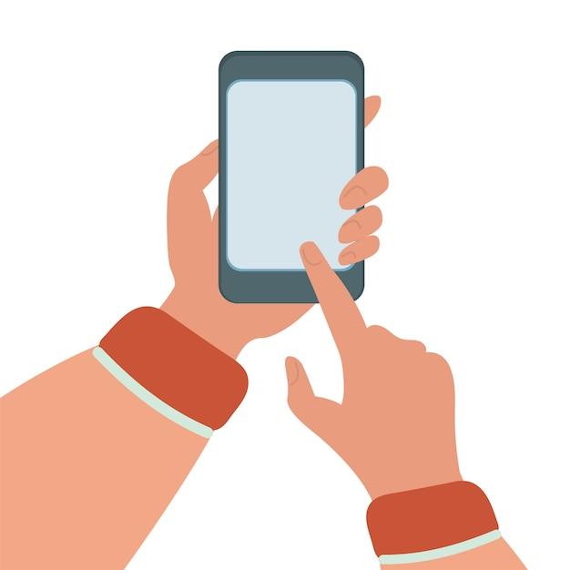 Mobiltelefon-flache abbildung eingestellt über internet-technologie smartphone in den händen Premium Vektoren