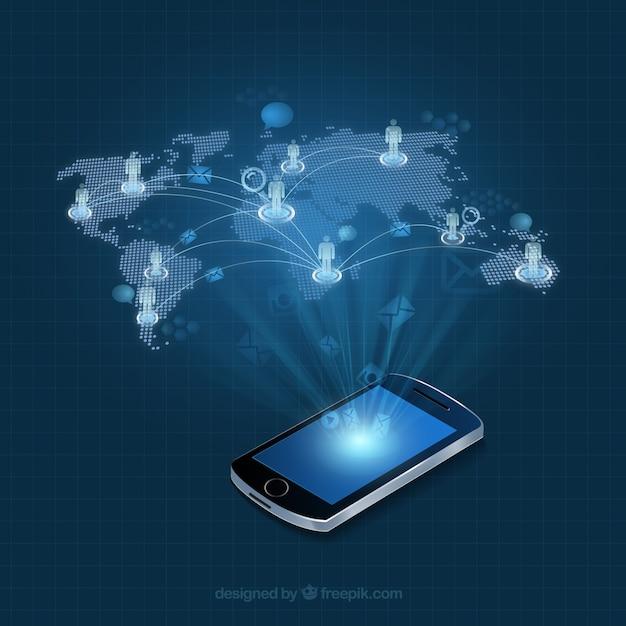 Mobiltelefon mit einer Weltkarte Infografik Kostenlose Vektoren