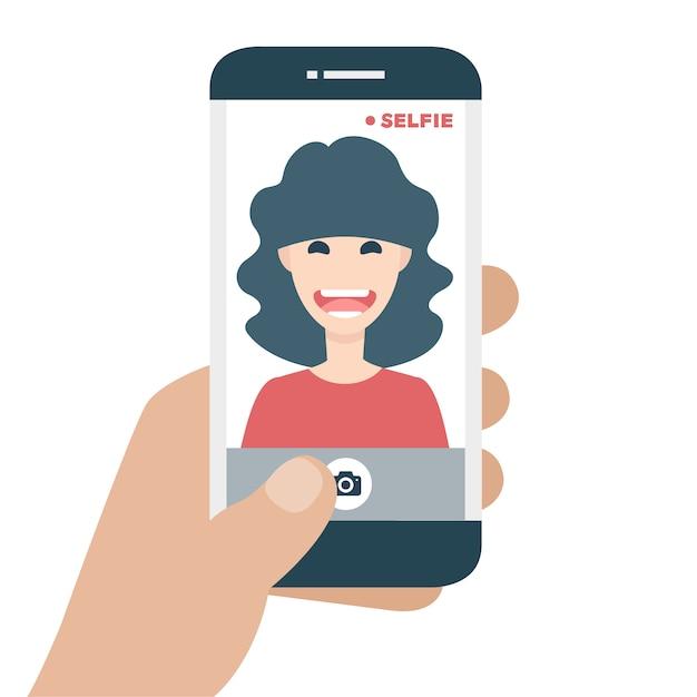 Mobiltelefon takin ein selfie Kostenlosen Vektoren