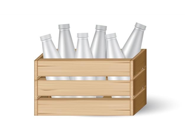 Mock 3d herauf realistische hölzerne kisten oder kasten mit milchflasche Premium Vektoren