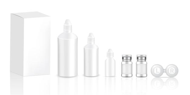 Mock up realistische transparente kontaktlinsen flaschen produkt Premium Vektoren