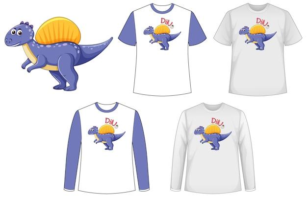 Mock-up-shirt mit dinosaurier-zeichentrickfigur Kostenlosen Vektoren