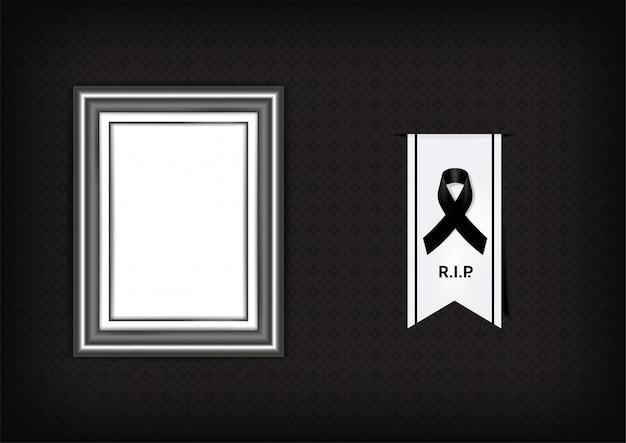 Mock up trauersymbol mit schwarzem respektband und rahmen Premium Vektoren