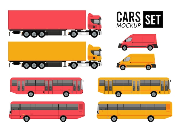 Mockup set farben autos fahrzeuge transport Premium Vektoren