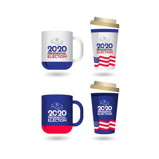 Mockup vote presidential election 2020 vereinigte staaten vector template design illustration Premium Vektoren