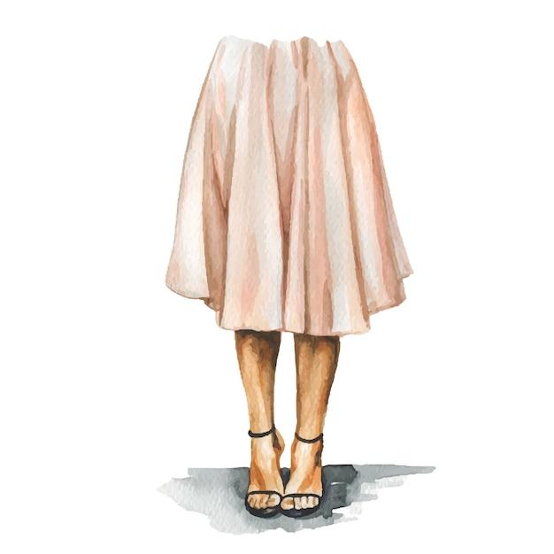 Mode-aquarellillustration der jungen frau im stilvollen trendigen outfit. hand gezeichnete skizze des weiblichen hipster-looks. urbaner streetstyle. Premium Vektoren