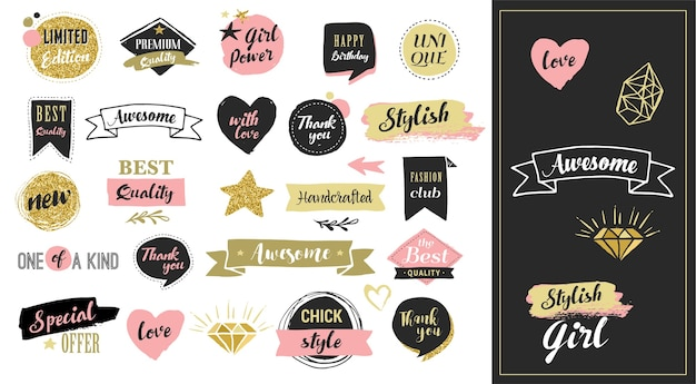 Mode-aufkleber, etiketten und verkaufsanhänger. goldherzen, sprechblasen, sterne und andere elemente. Premium Vektoren