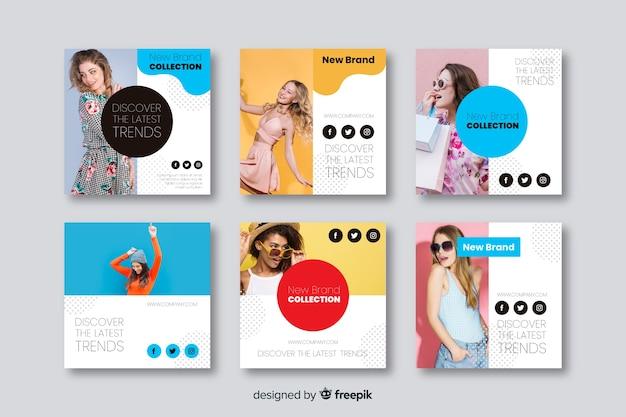 Mode-banner-vorlagen für social media Kostenlosen Vektoren