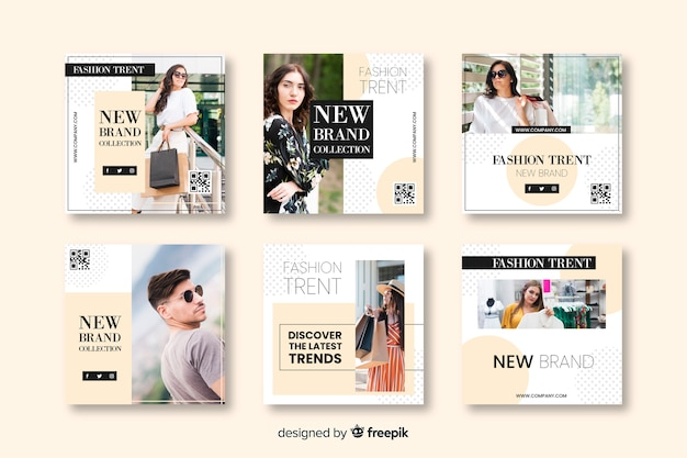 Mode-banner-vorlagen für social media Premium Vektoren