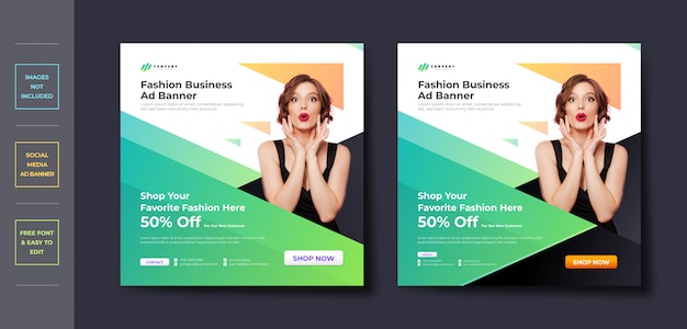Mode business social media post banner vorlage Premium Vektoren