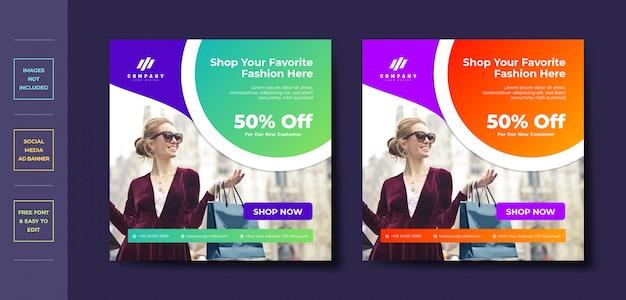 Mode business social media post banner vorlage Premium Vektoren