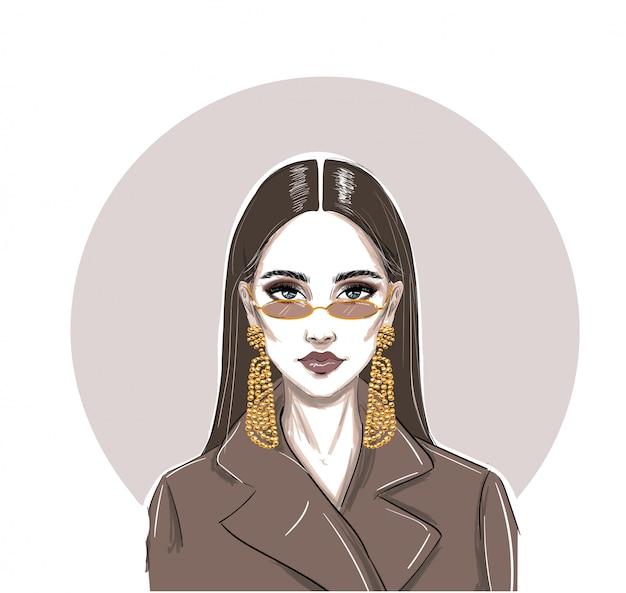 Mode ernsthafte mikrobrille frau Premium Vektoren