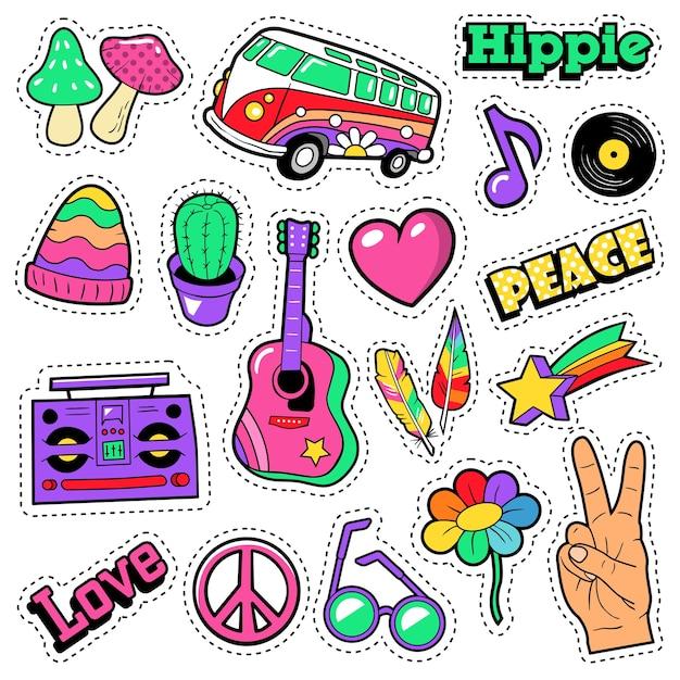 Mode hippie abzeichen, aufnäher, aufkleber - van mushroom gitarre und feder im pop art comic style. illustration Premium Vektoren