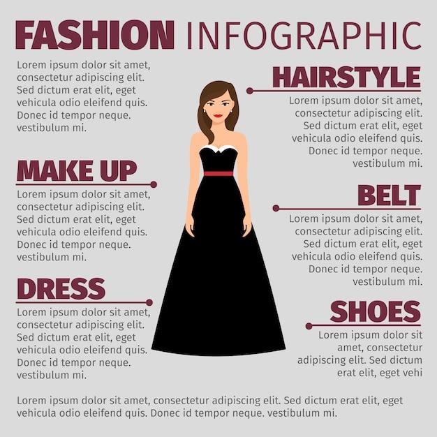 Mode infographic mit brunette im kleid Premium Vektoren