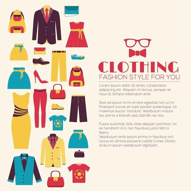 Mode kleidung infografiken vorlage konzept Premium Vektoren