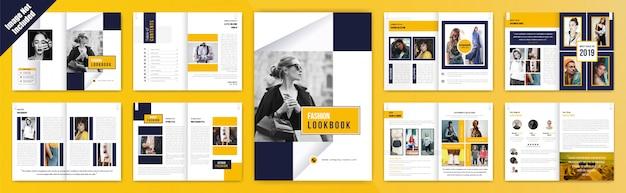 Mode-lookbook-broschüre mit porträt Premium Vektoren