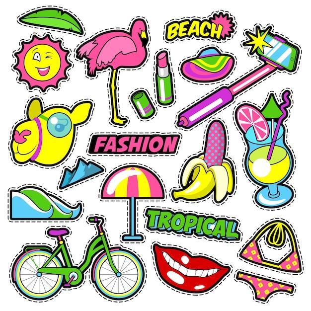 Mode mädchen abzeichen, aufnäher, aufkleber - fahrrad bananen flamingo lippenstift im comic-stil. gekritzel Premium Vektoren