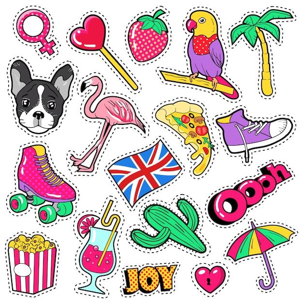Mode mädchen abzeichen, aufnäher, aufkleber - flamingovogel, pizza papagei und herz im comic-stil. illustration Premium Vektoren