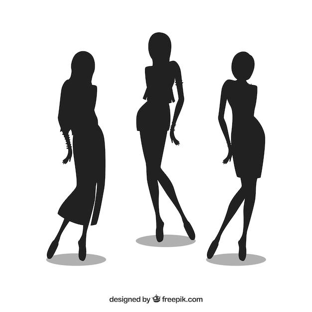Mode mädchen silhouetten Kostenlosen Vektoren