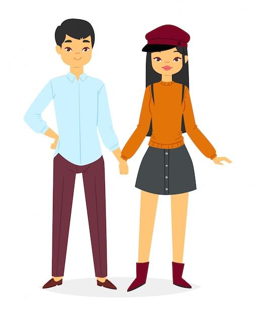 Mode paar jungen und mädchen sieht kleidung Premium Vektoren