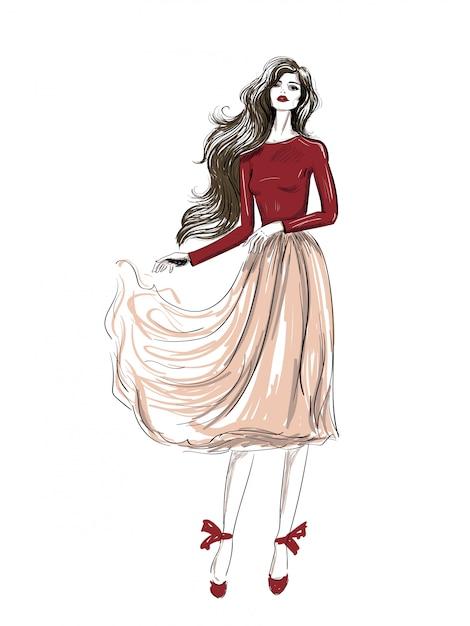 Mode romantisches outfit mit gewellter rockskizze Premium Vektoren