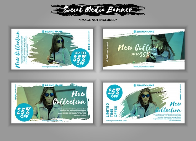 Mode-social-media-banner-vorlagenpaket Premium Vektoren