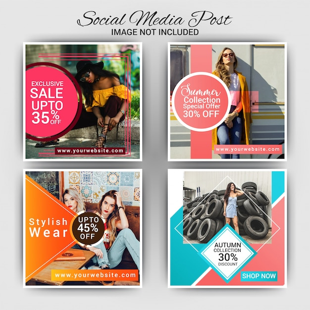 Mode social media post design Premium Vektoren