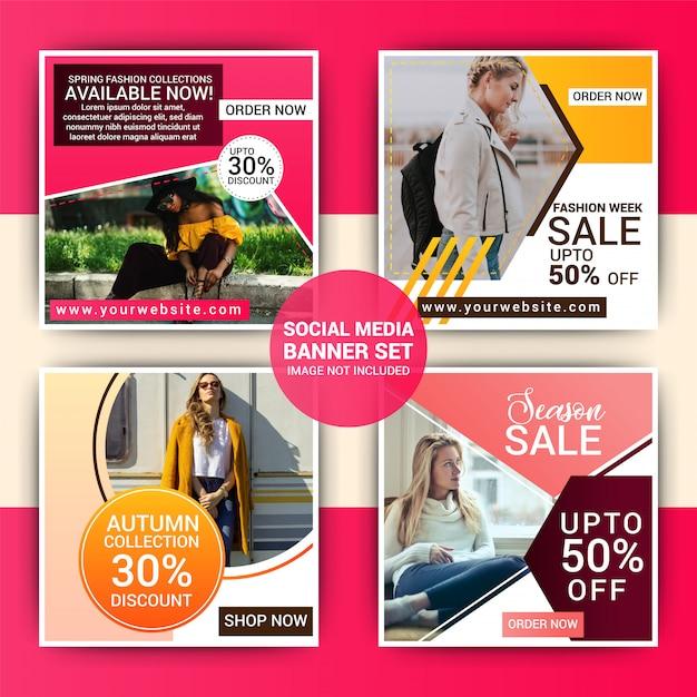 Mode social media post schablonenset Premium Vektoren