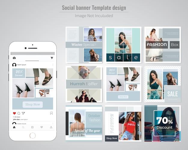 Mode-social-media-post-vorlage Premium Vektoren