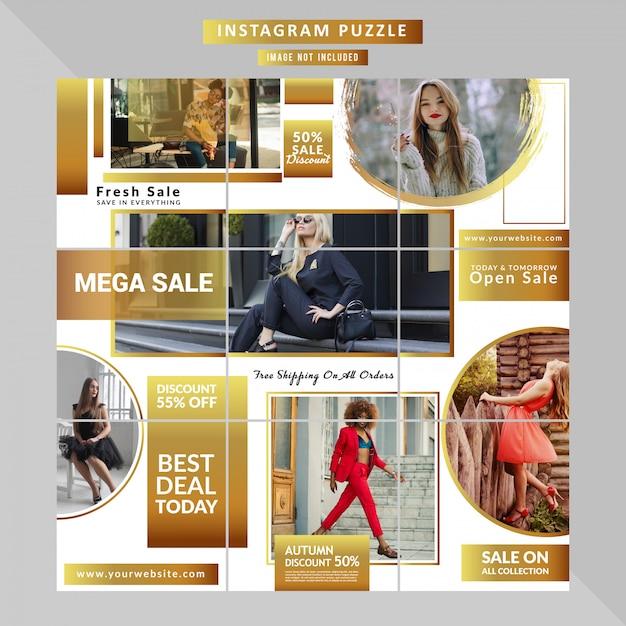 Mode-social-media-puzzle-vorlage Premium Vektoren