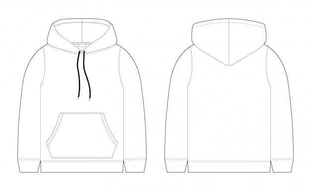 Mode technische skizze für männer hoodie. vorder- und rückansicht. technische zeichnung kinderkleidung. sportbekleidung, lässiger urbaner stil. Premium Vektoren
