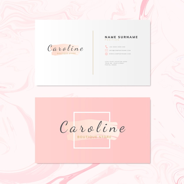 Mode- und schönheitsnamenskarten-designvektor Kostenlosen Vektoren